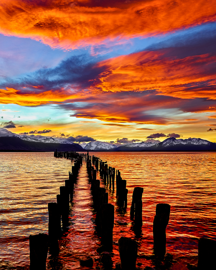 chile patagonia pier sunset