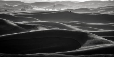 washington palouse sunset black and white