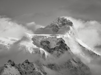 patagonia chile black and white ice field mountain snow