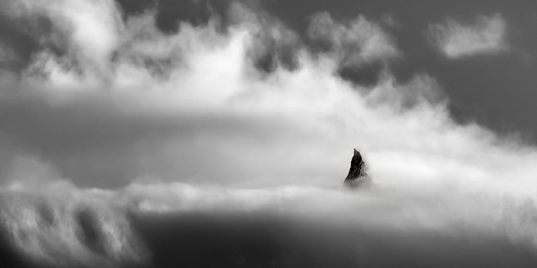 chile patagonia mountain black and white